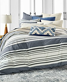 Stripe Bed Cotton 3-Pc. Full/Queen Duvet Cover Set, Created for Macy's