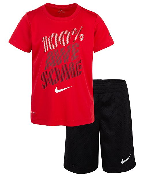 01e3a7e8e Nike 2-Pc. Awesome-Print Dri-FIT T-Shirt & Shorts Set, Little Boys ...