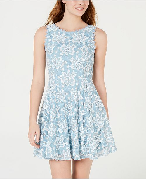 City Studios Juniors' Floral Lace A-Line Dress
