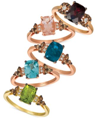 Pomegranate Garnet (2-3/4 ct. t.w.) & Chocolate and Vanilla Diamond (1/5 ct. t.w.) Ring in 14k Rose Gold (Also Available in Blueberry Zircon & Peach Morganite)