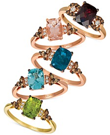 Multi-Gemstone Ring Collection in 14k Rose Gold or 14k Yellow Gold