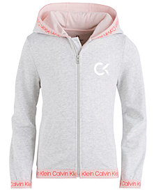 Calvin Klein Big Girls Zip-Up Logo Hoodie