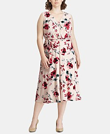 Lauren Ralph Lauren Plus Size Floral-Print Midi Dress