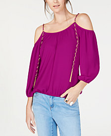 I.N.C. Cold-Shoulder Chain-Detail Top, Created for Macy's