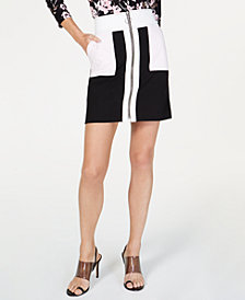 I.N.C. Colorblocked A-Line Mini Skirt, Created for Macy's