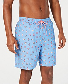 "Men's Classic-Fit Quick-Dry Watermelon-Print 7"" Swim Trunks, Created for Macy's"