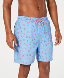"Club Room Men's Classic-Fit Quick-Dry Watermelon-Print 7"" Swim Trunks, Created for Macy's"