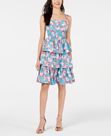 Betsey Johnson Floral Smocked Tiered Ruffle Dress