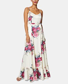 Betsey Johnson Petite Floral Ruffle-Hem Maxi Dress