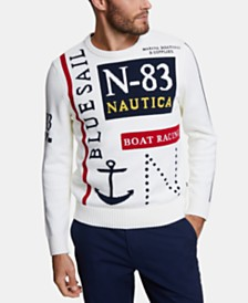 Nautica Men's Blue Sail Classic-Fit Intarsia Logo Sweater, Created for Macy's