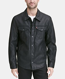 Men's Faux Leather Shirt Jacket