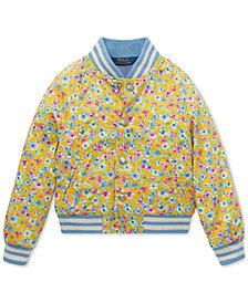 Polo Ralph Lauren Little Girls Floral-Print Cotton Baseball Jacket