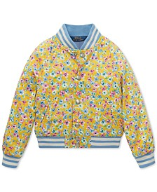 Polo Ralph Lauren Toddler Girls Floral-Print Cotton Baseball Jacket
