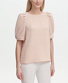 Calvin Klein Textured Puff-Sleeve Top