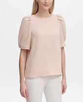 327ff7fbdb7c1 Calvin Klein Textured Puff-Sleeve Top