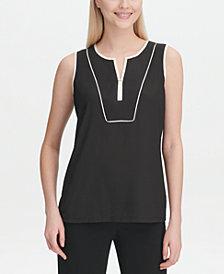 Calvin Klein Sleeveless Piping-Trim Top
