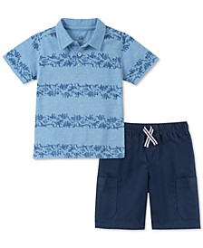 Little Boys 2-Pc. Dinosaur-Stripe Polo & Twill Shorts Set
