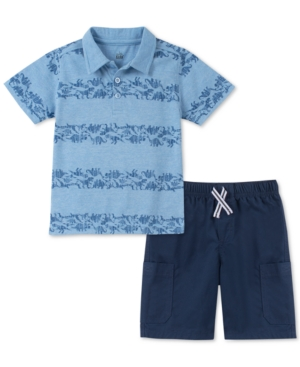 Kids Headquarters Little Boys 2-Pc. Dinosaur-Stripe Polo & Twill Shorts Set