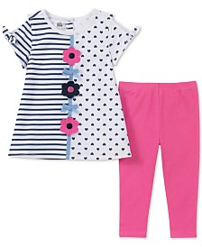 Kids Headquarters Little Girls 2-Pc. Printed Cold Shoulder Tunic & Leggings Set