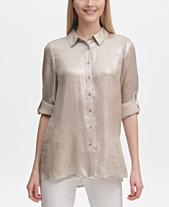 Calvin Klein Metallic Button-Front Tunic 2994790a2