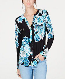 I.N.C. Printed Zip-Pocket Top, Created for Macy's