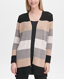 Calvin Klein Striped Colorblock Open Cardigan