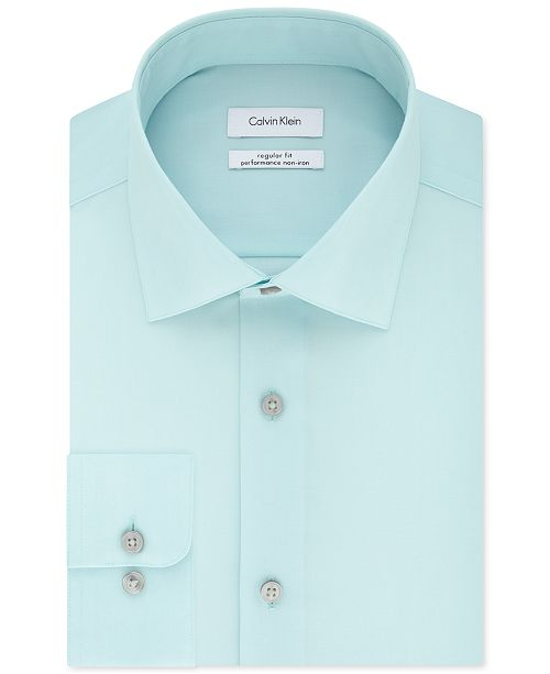 Calvin Klein Men's Classic-Fit Non-Iron Performance Herringbone Spread Collar Dress Shirt