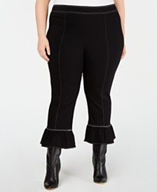 I.N.C. Plus Size Contrast-Stitch Bell-Hem Pants, Created for Macy's