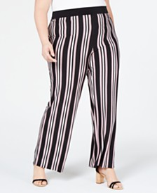 I.N.C. Plus Size Striped Soft Pants, Created for Macy's