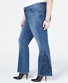 I.N.C. Plus Size Embroidered Boot-Cut Jeans, Created for Macy's
