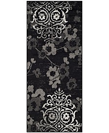 """Adirondack Black and Silver 2'6"""" x 6' Runner Area Rug"""