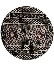 Adirondack Black and Light Gray 6' x 6' Round Area Rug