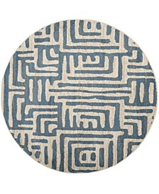 """Amsterdam Ivory and Light Blue 6'7"""" x 6'7"""" Round Area Rug"""