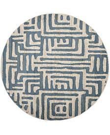 "Safavieh Amsterdam Ivory and Light Blue 6'7"" x 6'7"" Round Area Rug"