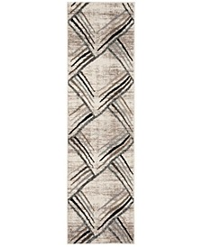 """Amsterdam Cream and Charcoal 2'3"""" x 8' Runner Area Rug"""