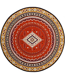 Safavieh Classic Vintage Orange and Gold 6' x 6' Round Area Rug
