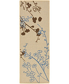 """Safavieh Courtyard Natural Brown and Blue 2'3"""" x 6'7"""" Area Rug"""