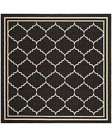 "Safavieh Courtyard Black and Creme 6'7"" x 6'7"" Sisal Weave Square Area Rug"