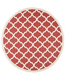 "Safavieh Courtyard Red and Bone 7'10"" x 7'10"" Sisal Weave Round Area Rug"
