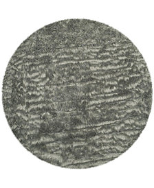Safavieh Faux Sheep Skin Gray 6' X 6' Round Area Rug