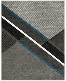 Hollywood Gray and Teal 8' x 10' Area Rug