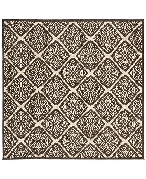 """Safavieh Linden Creme and Brown 6'7"""" x 6'7"""" Square Area Rug"""