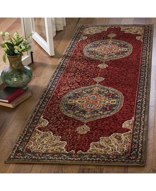 """Safavieh Kashan Red and Blue 2'6"""" x 8' Runner Area Rug"""