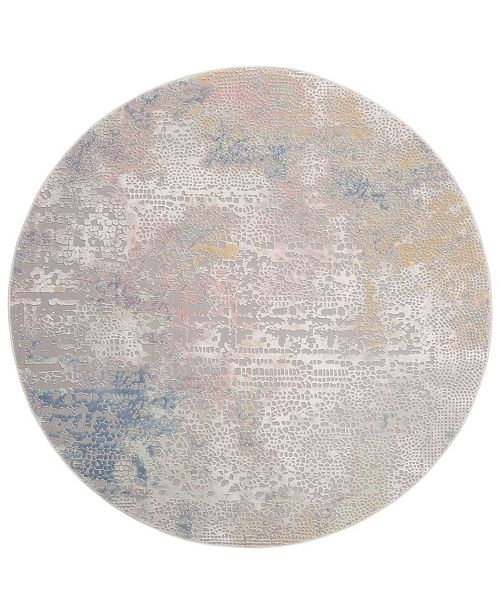 """Safavieh Meadow Gray and Gold 6'7"""" x 6'7"""" Round Area Rug"""