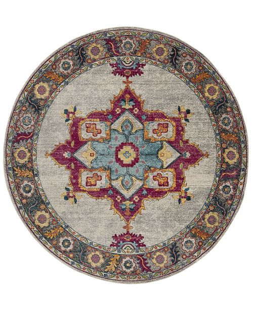 "Safavieh Merlot Cream and Multi 6'7"" x 6'7"" Round Area Rug"