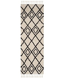 """Moroccan Fringe Shag Cream and Charcoal 2'3"""" X 7' Runner Area Rug"""