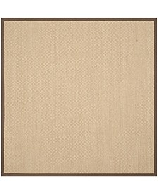 Natural Fiber Maize and Brown 6' x 6' Sisal Weave Square Rug