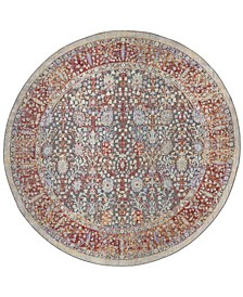 """Provance Red and Black 6'7"""" x 6'7"""" Round Area Rug"""