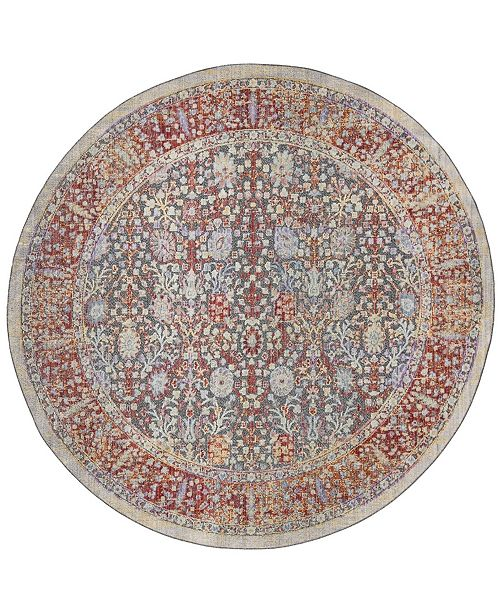 """Safavieh Provance Red and Black 6'7"""" x 6'7"""" Round Area Rug"""