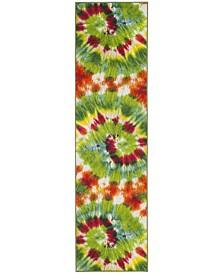 """Safavieh Paint Brush Green and Orange 2'3"""" x 8' Runner Area Rug"""